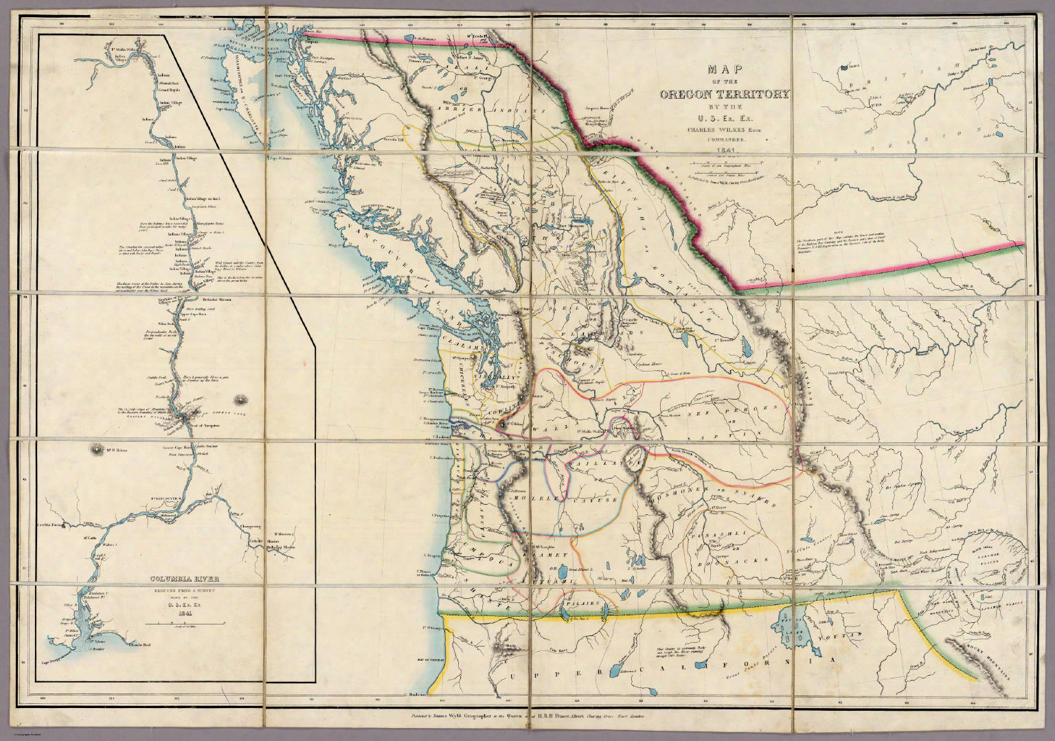 Maps related to george washington bush map of oregon territory by charles wilkes 1841 maps of united states publicscrutiny Image collections